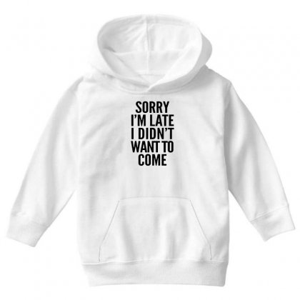 Sorry I'm Late And I Didn't Want To Come Youth Hoodie Designed By Blqs Apparel