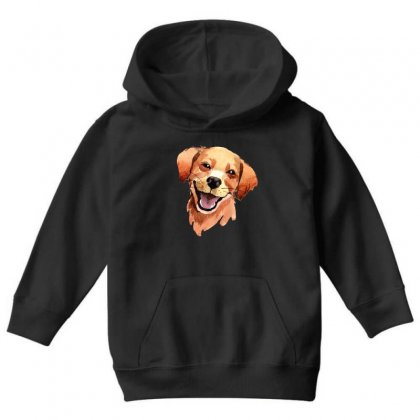 Happy Dog Youth Hoodie Designed By Tiococacola