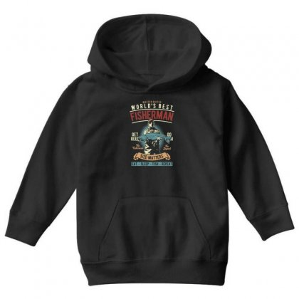 World's Best Fisherman Youth Hoodie Designed By Blqs Apparel