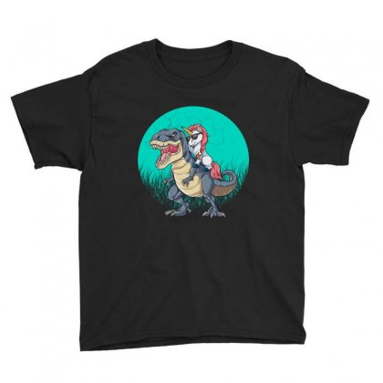 Unicorn Riding Dinosaur Youth Tee Designed By Blqs Apparel