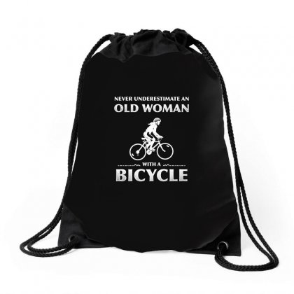 Never Underestimate An Old Woman With A Bicycle T Shirt Drawstring Bags Designed By Hung