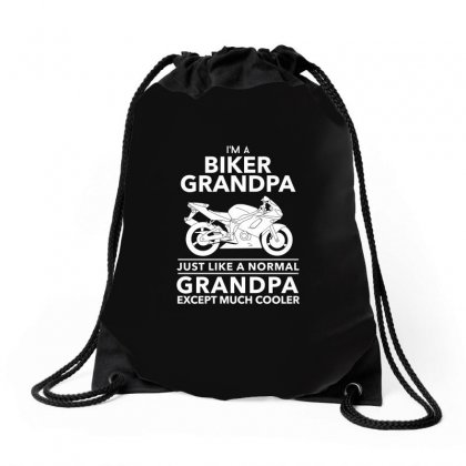 Biker Grandpa Just Like A Normal Grandpa Except Much Shirt Drawstring Bags Designed By Hung