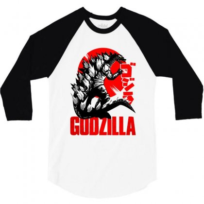 Godzilla 3/4 Sleeve Shirt Designed By Zeynepu