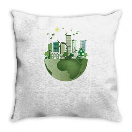 Vector Energy Saving Caring For The Earth Throw Pillow Designed By Salmanaz