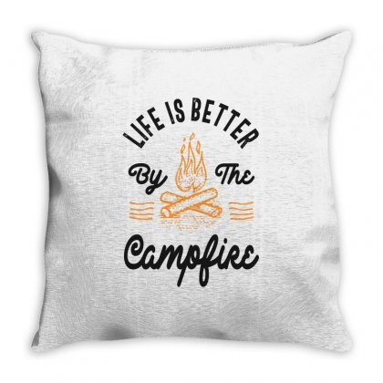 Life Better By The Campfire Throw Pillow Designed By Cidolopez
