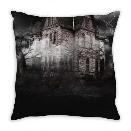 Haunted Night Building Throw Pillow Designed By Salmanaz