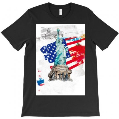 Statue Of Liberty Independence Day Poster Art T-shirt Designed By Salmanaz