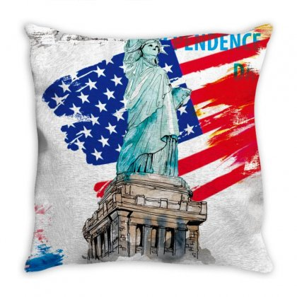 Statue Of Liberty Independence Day Poster Art Throw Pillow Designed By Salmanaz