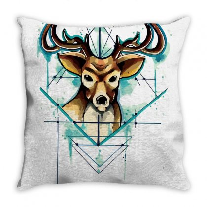 Deer Tattoo Drawing Vector Watercolor Throw Pillow Designed By Salmanaz