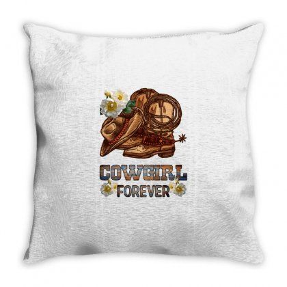 Cowgirl Forever Throw Pillow Designed By Nurbetulk