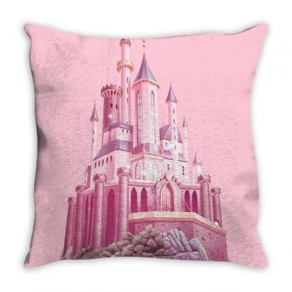 Pink Castle Throw Pillow Designed By Salmanaz