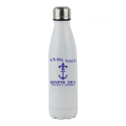 Cajun Navy W J Tee Shirt Stainless Steel Water Bottle Designed By Hung