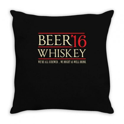 Beer   Whiskey For President Shirt Throw Pillow Designed By Hung
