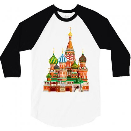 Moscow Kremlin Saint Basils Cathedral Red Square L Vector Illustration 3/4 Sleeve Shirt Designed By Salmanaz