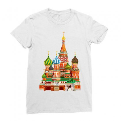 Moscow Kremlin Saint Basils Cathedral Red Square L Vector Illustration Ladies Fitted T-shirt Designed By Salmanaz