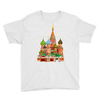 Moscow Kremlin Saint Basils Cathedral Red Square L Vector Illustration Youth Tee Designed By Salmanaz
