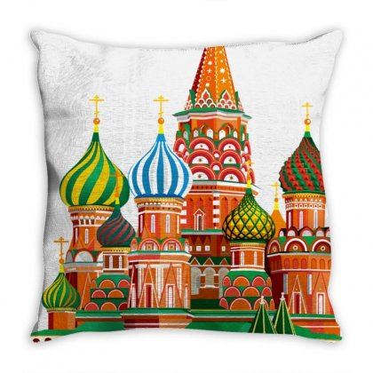 Moscow Kremlin Saint Basils Cathedral Red Square L Vector Illustration Throw Pillow Designed By Salmanaz