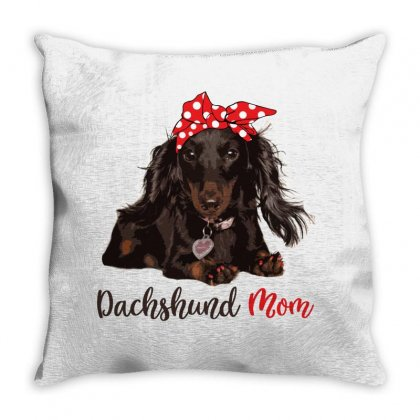 Dachshund Mom Throw Pillow Designed By Sengul