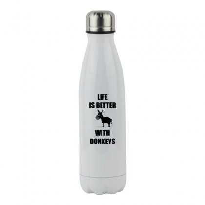 Life Is Better With Donkey Shirt Stainless Steel Water Bottle Designed By Hung