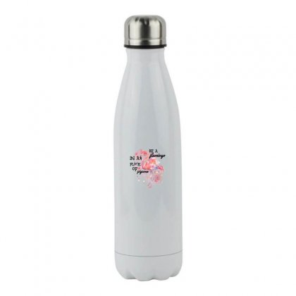 Be A Flamingo In A Flock Pigeons Stainless Steel Water Bottle Designed By Sengul