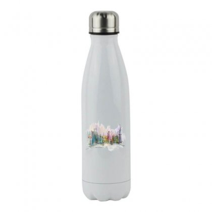 Drawing Watercolor Painting City Stainless Steel Water Bottle Designed By Salmanaz