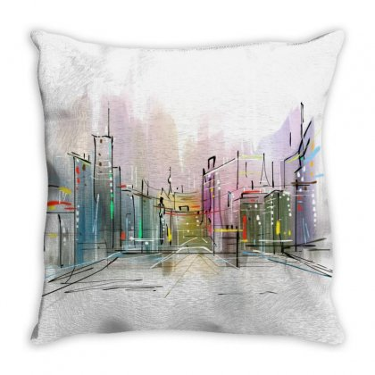 Drawing Watercolor Painting City Throw Pillow Designed By Salmanaz