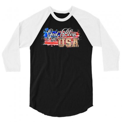 God Bless The Usa 3/4 Sleeve Shirt Designed By