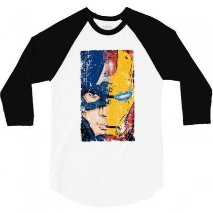 Captain America And Iron Man 3/4 Sleeve Shirt Designed By