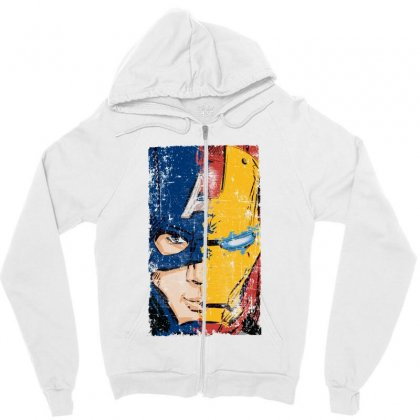 Captain America And Iron Man Zipper Hoodie Designed By