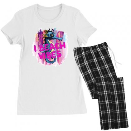 I Beach Vibes Seahorse Women's Pajamas Set Designed By