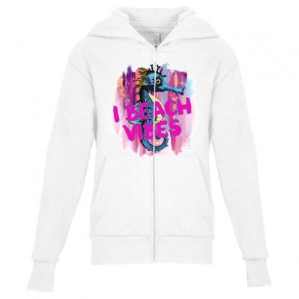 I Beach Vibes Seahorse Youth Zipper Hoodie Designed By