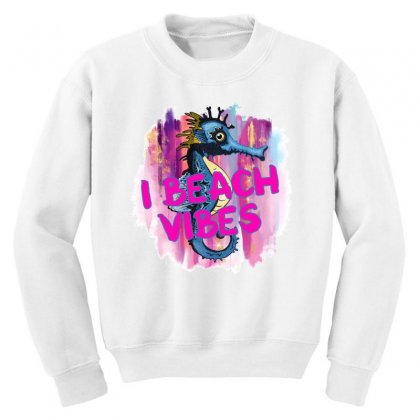 I Beach Vibes Seahorse Youth Sweatshirt Designed By