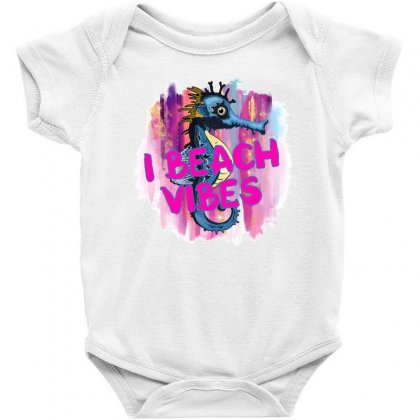 I Beach Vibes Seahorse Baby Bodysuit Designed By