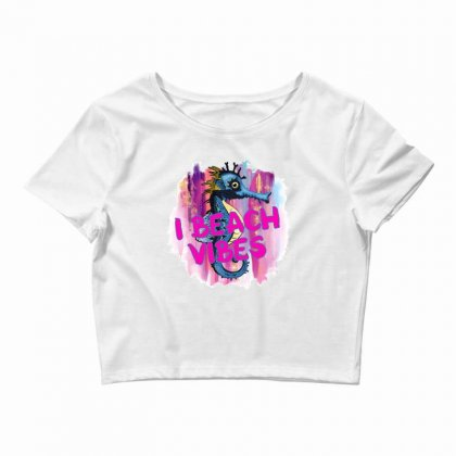 I Beach Vibes Seahorse Crop Top Designed By