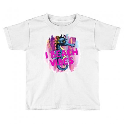 I Beach Vibes Seahorse Toddler T-shirt Designed By