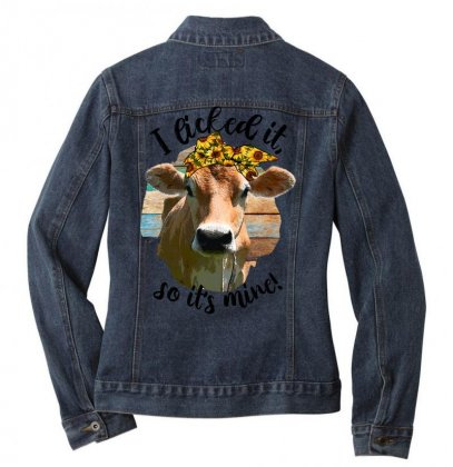 I Licked It So It's Mine For Light Ladies Denim Jacket Designed By