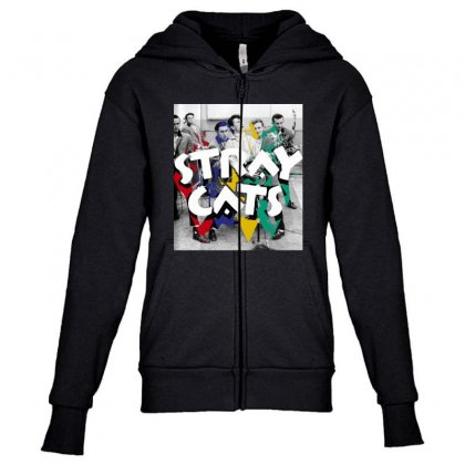 Stray Cats Youth Zipper Hoodie Designed By Sengul