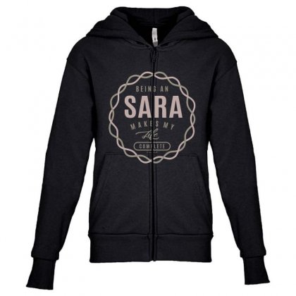 Is Your Name, Sara ? This Shirt Is For You! Youth Zipper Hoodie Designed By