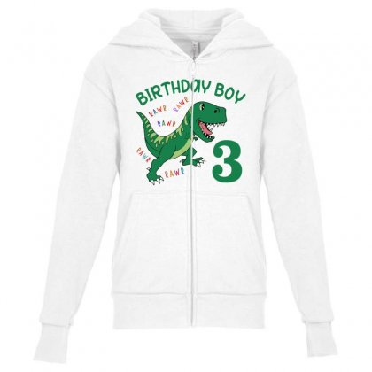 Birthday Boy 3 Youth Zipper Hoodie Designed By Artees Artwork