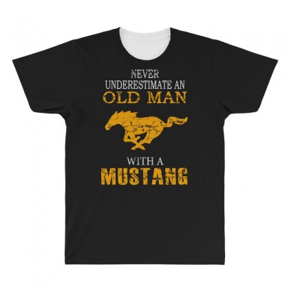 Never Underestimate An Old Man With A Mustang All Over Men's T-shirt Designed By