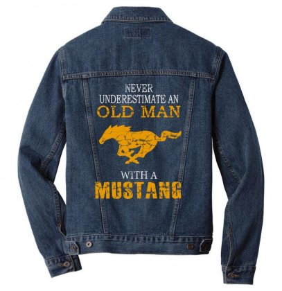 Never Underestimate An Old Man With A Mustang Men Denim Jacket Designed By