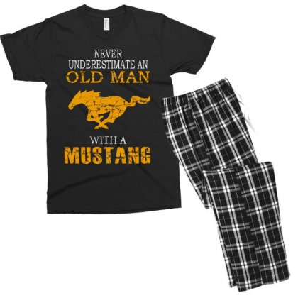 Never Underestimate An Old Man With A Mustang Men's T-shirt Pajama Set Designed By
