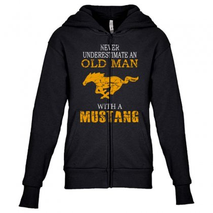 Never Underestimate An Old Man With A Mustang Youth Zipper Hoodie Designed By