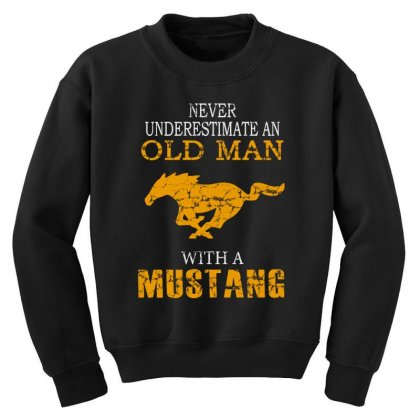 Never Underestimate An Old Man With A Mustang Youth Sweatshirt Designed By