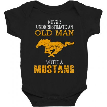 Never Underestimate An Old Man With A Mustang Baby Bodysuit Designed By