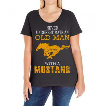 Never Underestimate An Old Man With A Mustang Ladies Curvy T-shirt Designed By