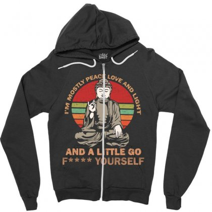 I'm Mostly Peace Love And Light And A Little Yoga Zipper Hoodie Designed By