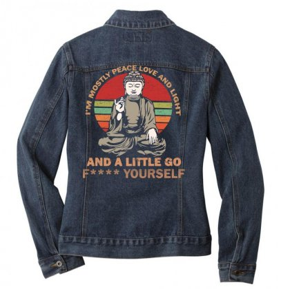 I'm Mostly Peace Love And Light And A Little Yoga Ladies Denim Jacket Designed By
