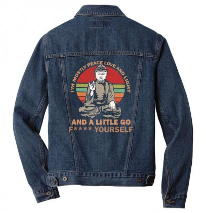 I'm Mostly Peace Love And Light And A Little Yoga Men Denim Jacket Designed By