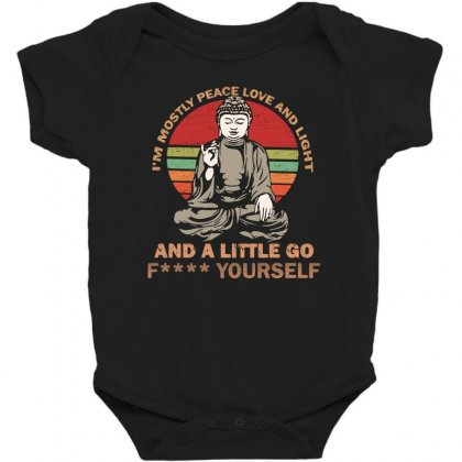 I'm Mostly Peace Love And Light And A Little Yoga Baby Bodysuit Designed By